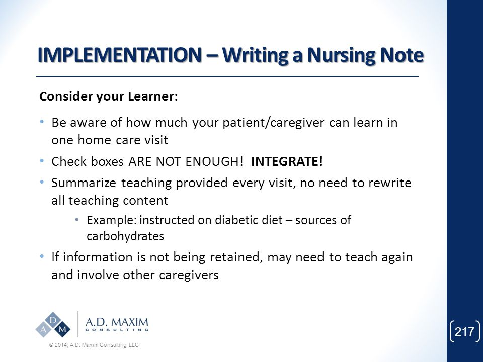 IMPLEMENTATION – Writing a Nursing Note