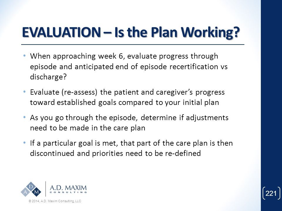 EVALUATION – Is the Plan Working