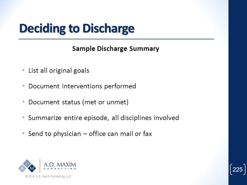 Sample Discharge Summary