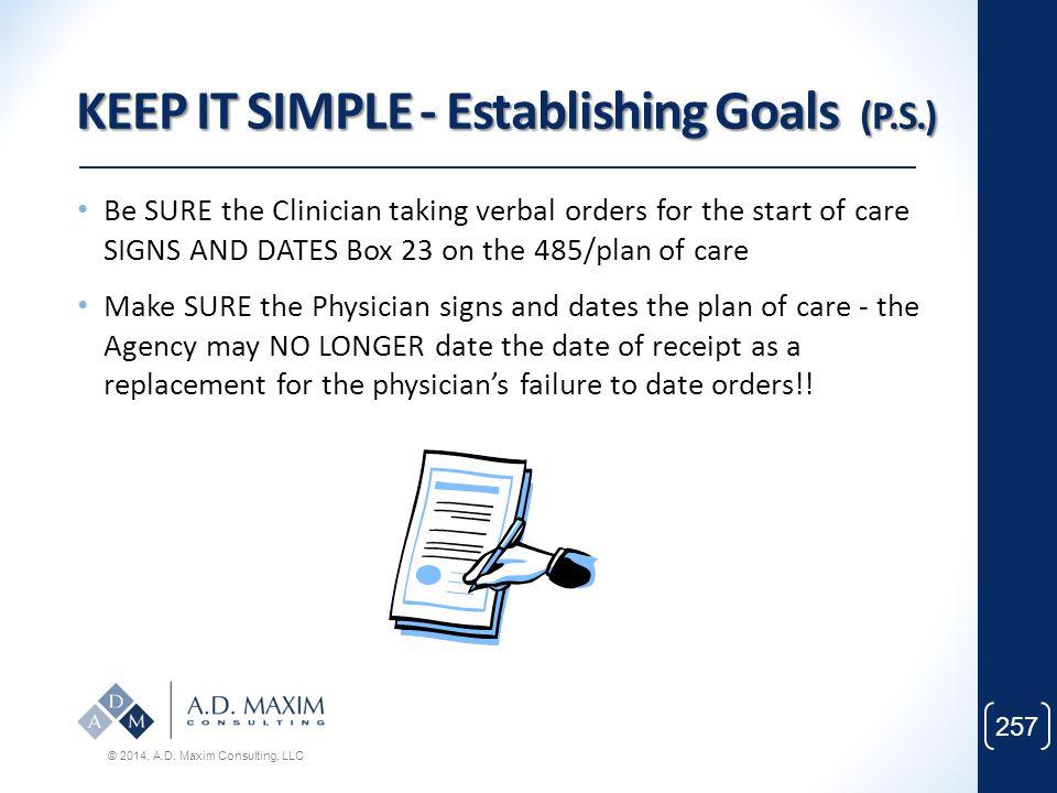 KEEP IT SIMPLE - Establishing Goals (P.S.)