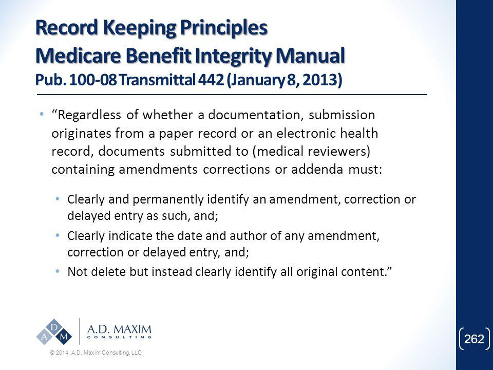 Record Keeping Principles Medicare Benefit Integrity Manual