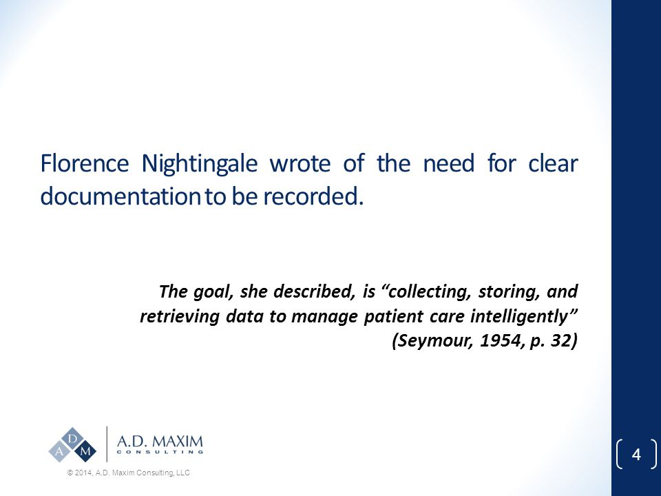 Florence Nightingale wrote of the need for clear documentation to be recorded.