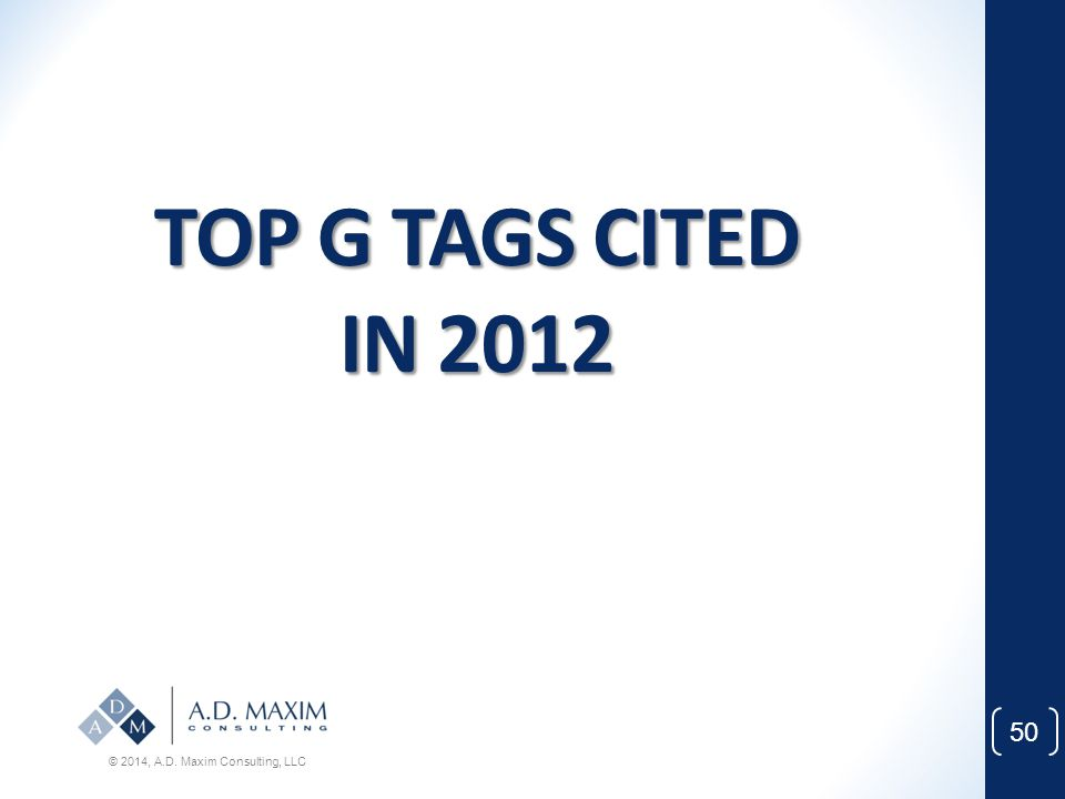 TOP G TAGS CITED IN 2012 © 2014, A.D. Maxim Consulting, LLC