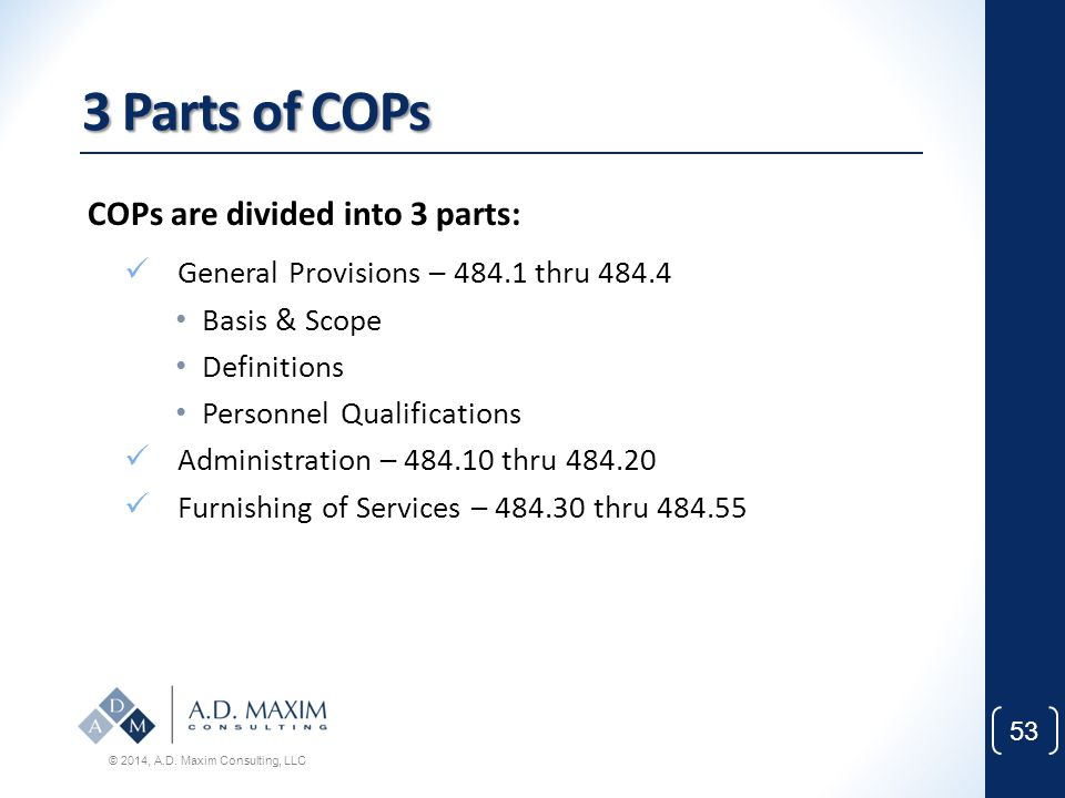 3 Parts of COPs COPs are divided into 3 parts: