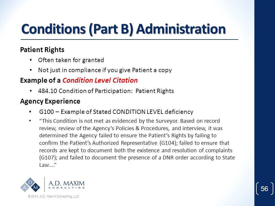 Conditions (Part B) Administration