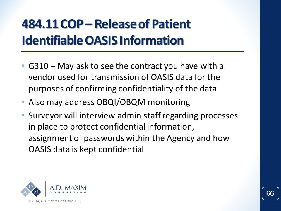 484.11 COP – Release of Patient Identifiable OASIS Information
