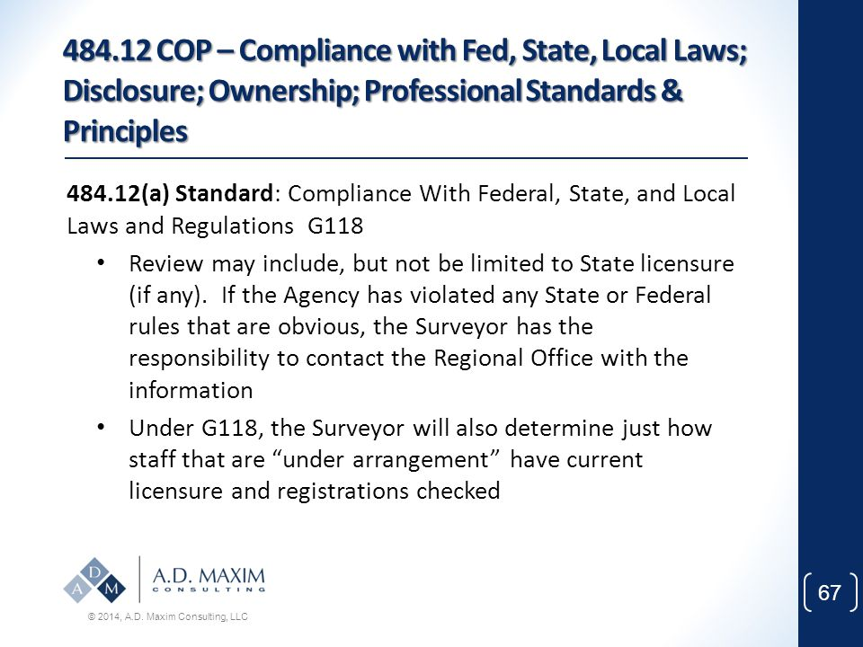 484.12 COP – Compliance with Fed, State, Local Laws; Disclosure; Ownership; Professional Standards & Principles