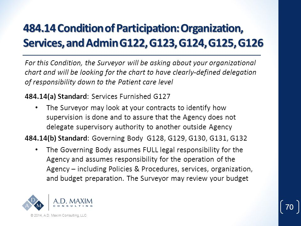 484.14 Condition of Participation: Organization, Services, and Admin G122, G123, G124, G125, G126