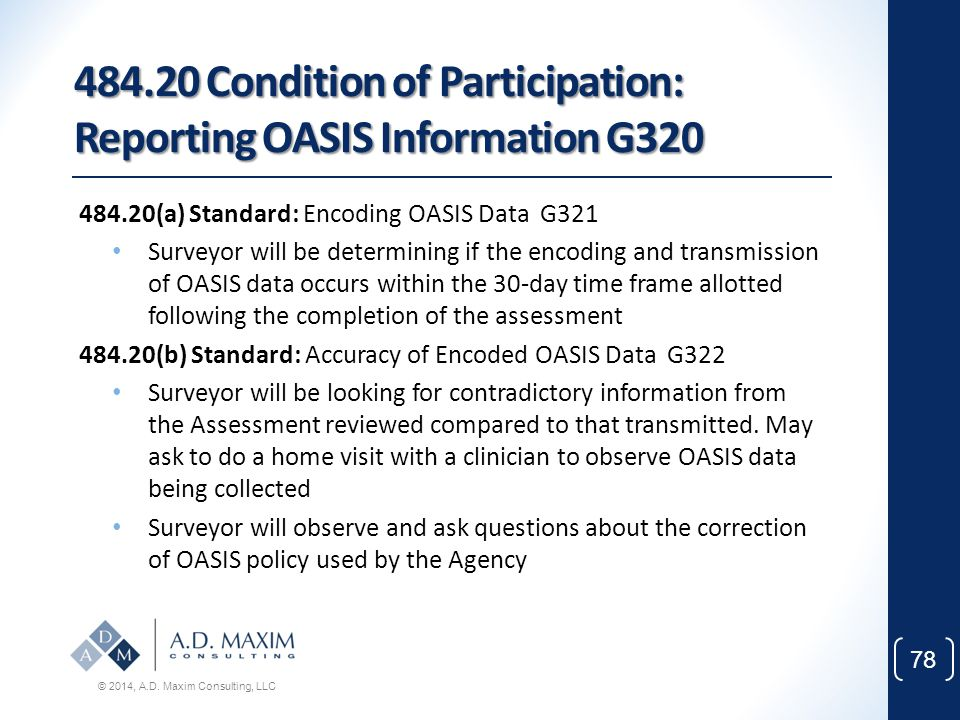 484.20 Condition of Participation: Reporting OASIS Information G320