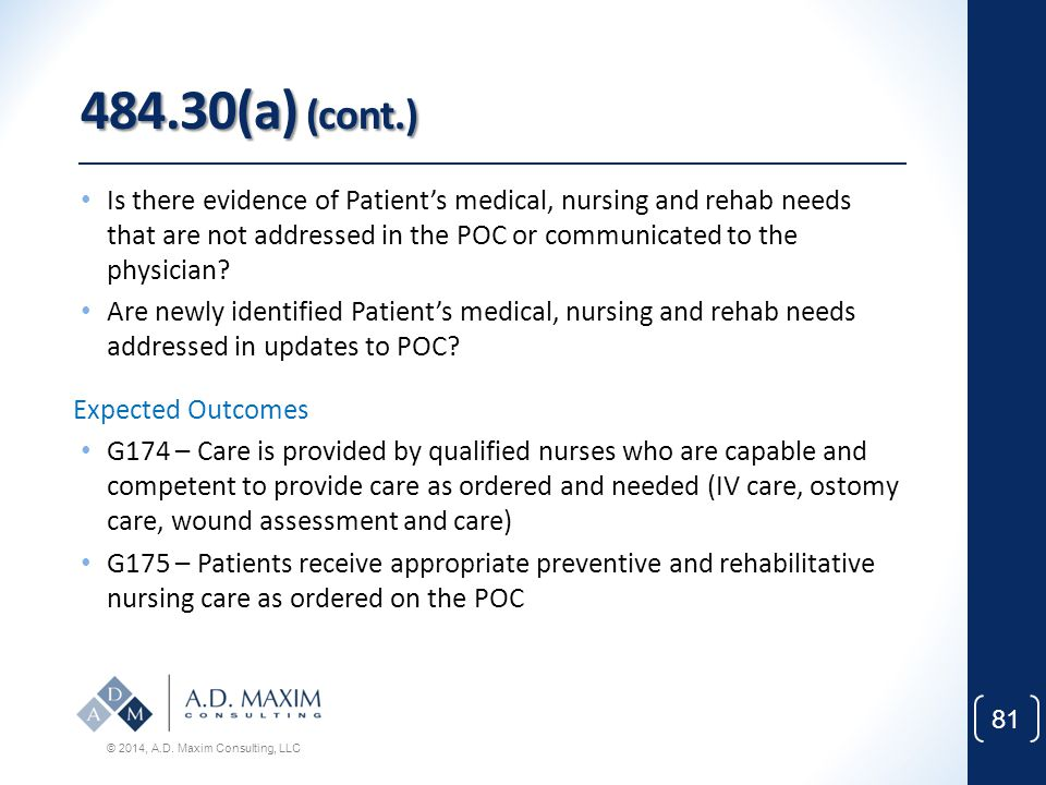 484.30(a) (cont.) Is there evidence of Patient's medical, nursing and rehab needs that are not addressed in the POC or communicated to the physician