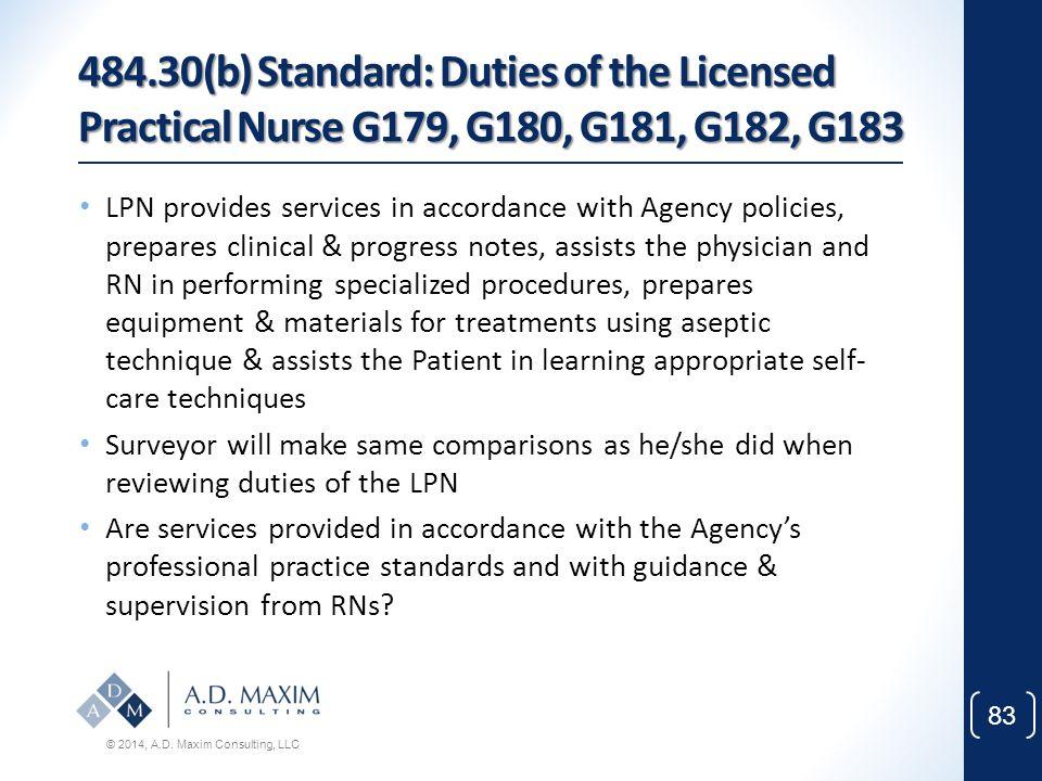 484.30(b) Standard: Duties of the Licensed Practical Nurse G179, G180, G181, G182, G183