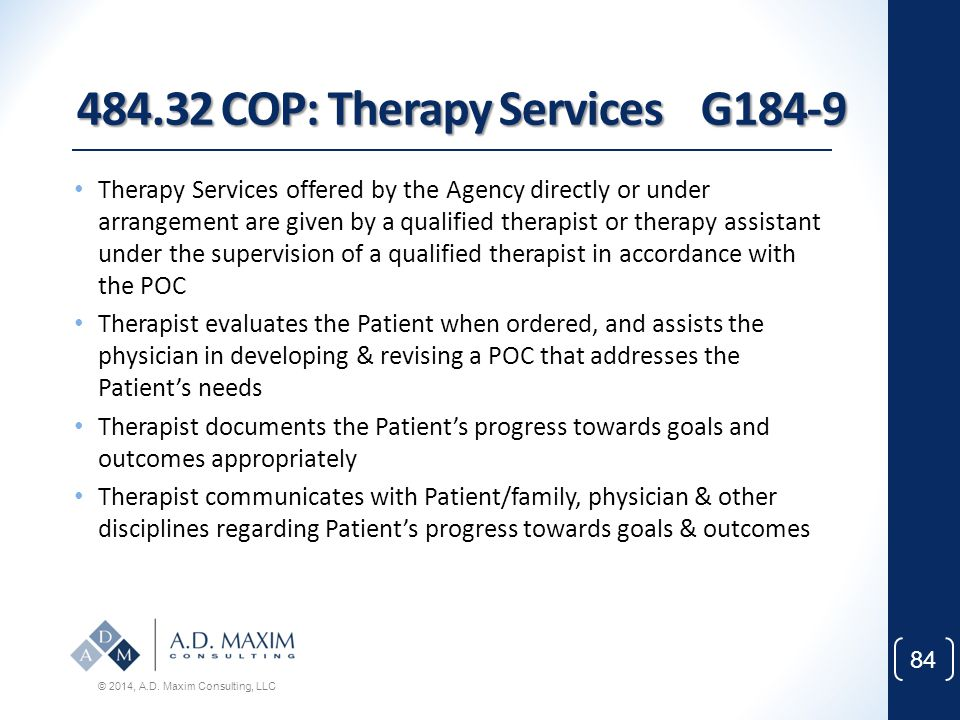 484.32 COP: Therapy Services G184-9
