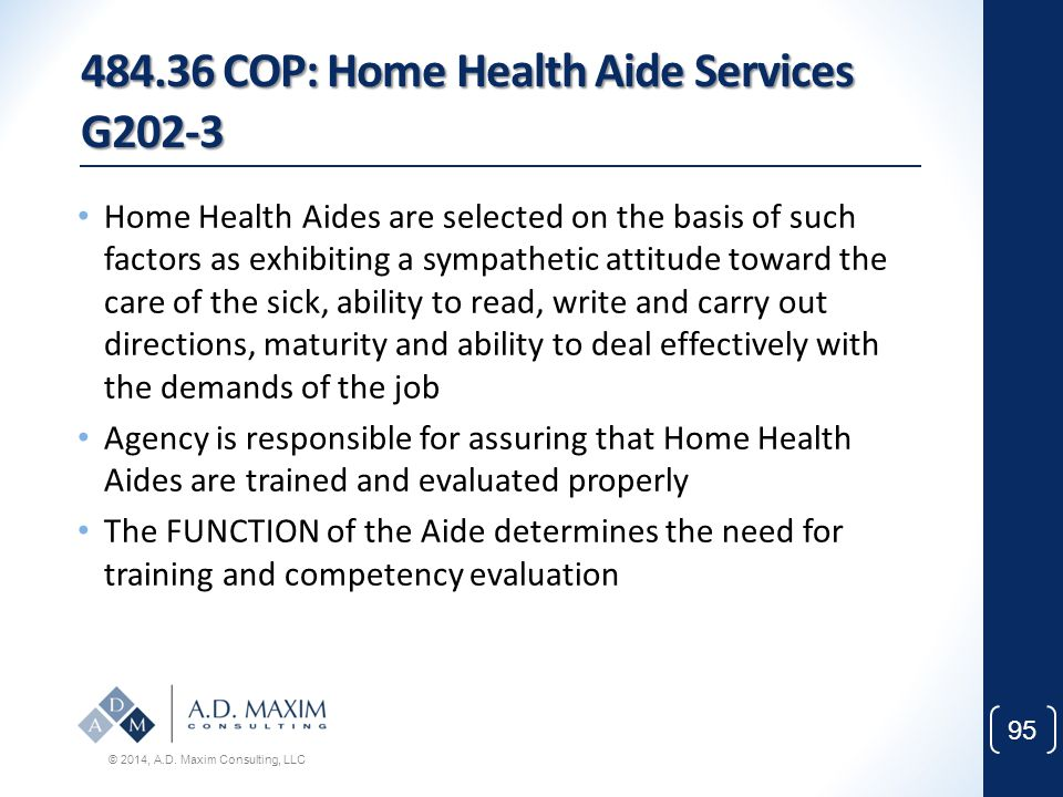 484.36 COP: Home Health Aide Services G202-3
