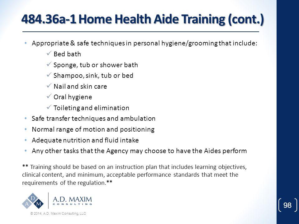 484.36a-1 Home Health Aide Training (cont.)