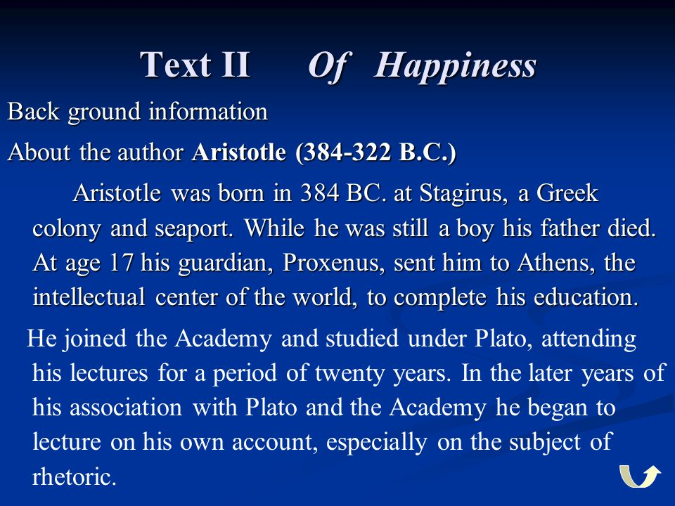 Text II Of Happiness Back ground information