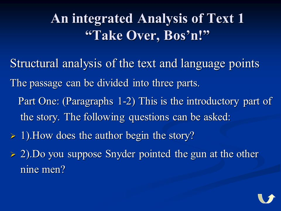 An integrated Analysis of Text 1 Take Over, Bos'n!