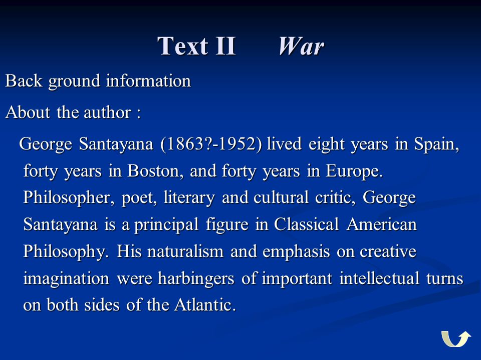 Text II War Back ground information About the author :