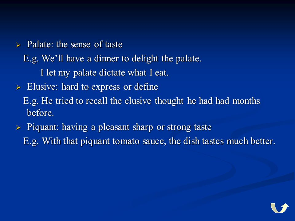 Palate: the sense of taste