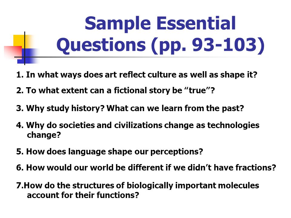 Sample Essential Questions (pp. 93-103)
