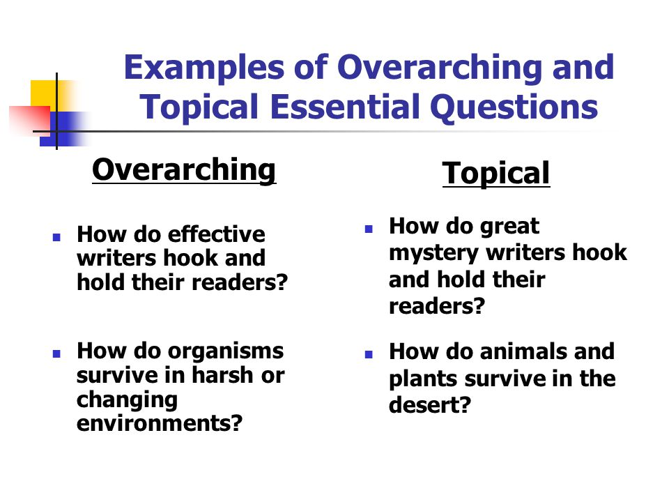 Examples of Overarching and Topical Essential Questions