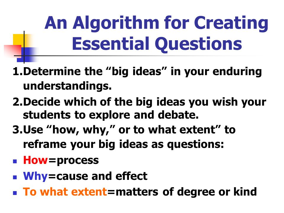 An Algorithm for Creating Essential Questions