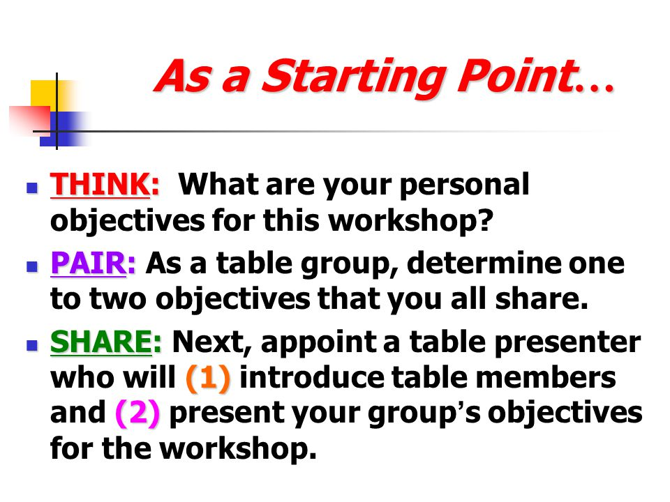 As a Starting Point… THINK: What are your personal objectives for this workshop
