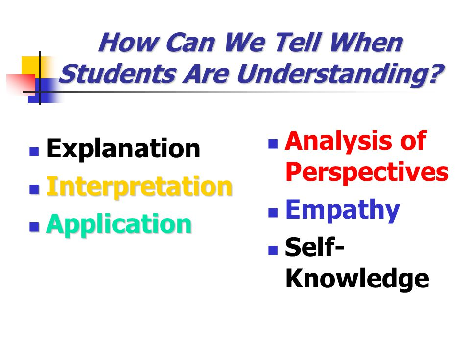 How Can We Tell When Students Are Understanding