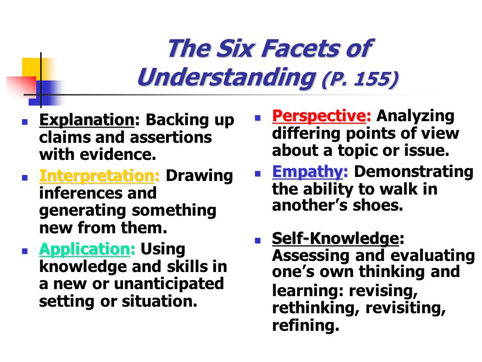 The Six Facets of Understanding (P. 155)