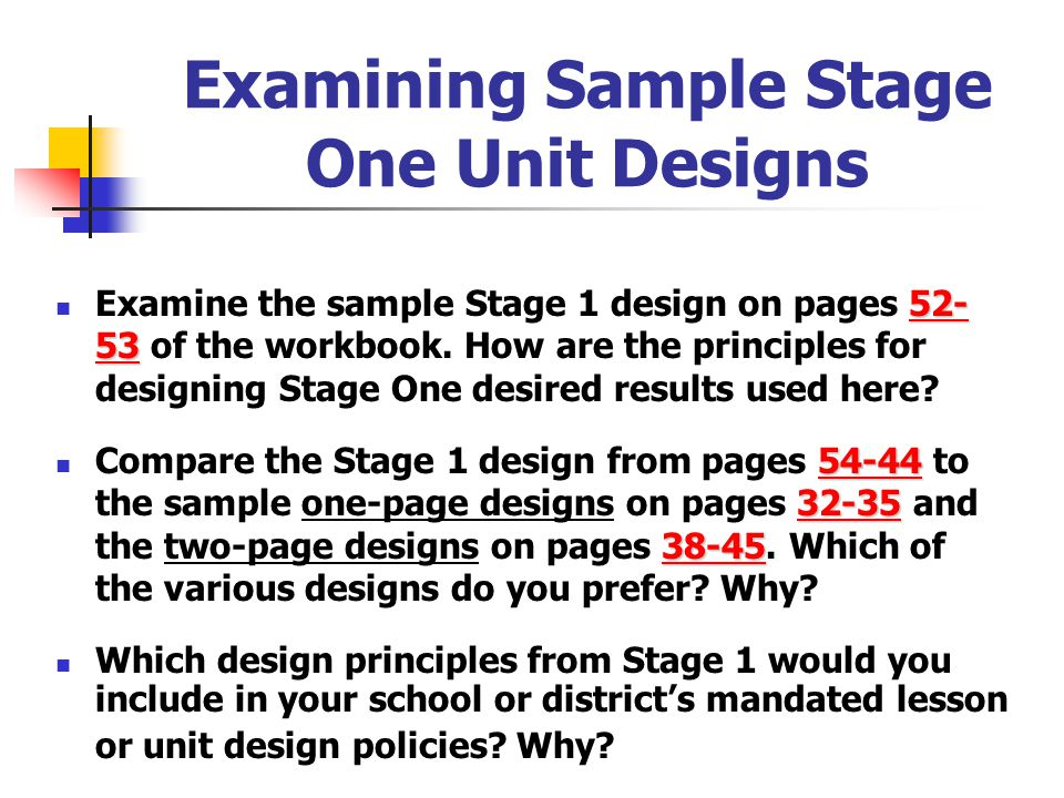 Examining Sample Stage One Unit Designs