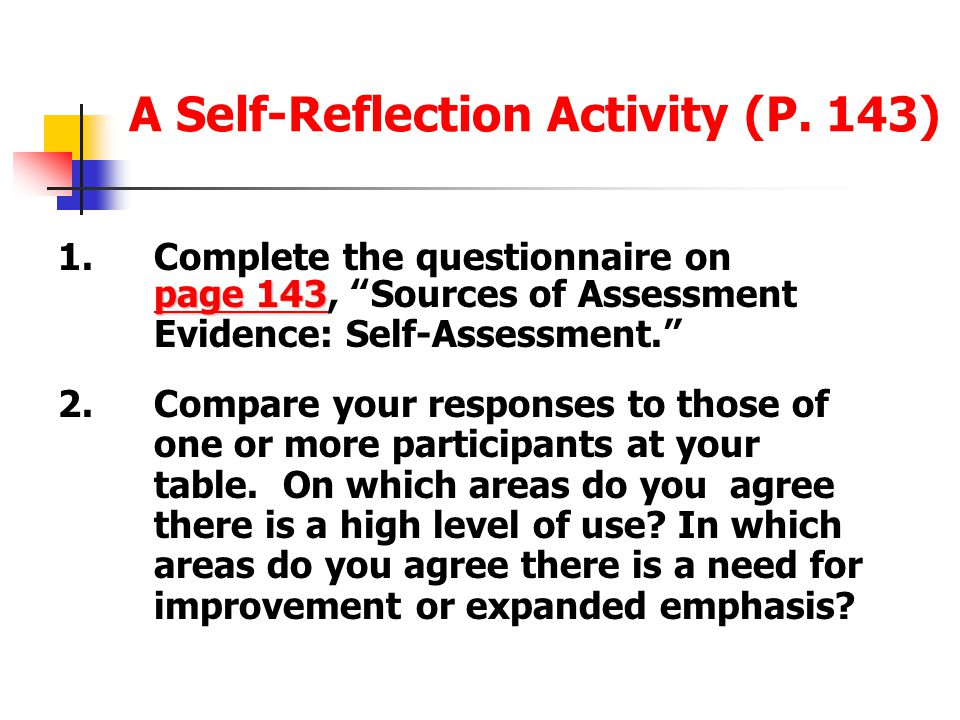 A Self-Reflection Activity (P. 143)