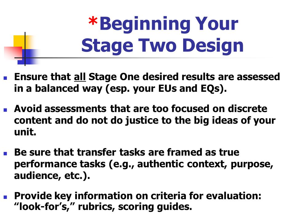 *Beginning Your Stage Two Design