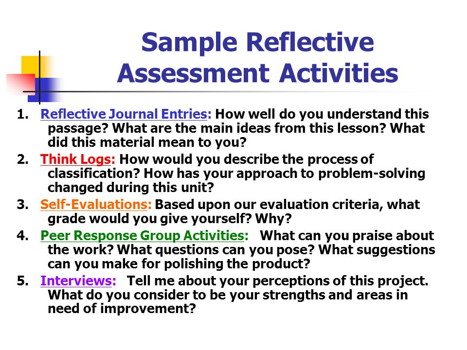 Sample Reflective Assessment Activities
