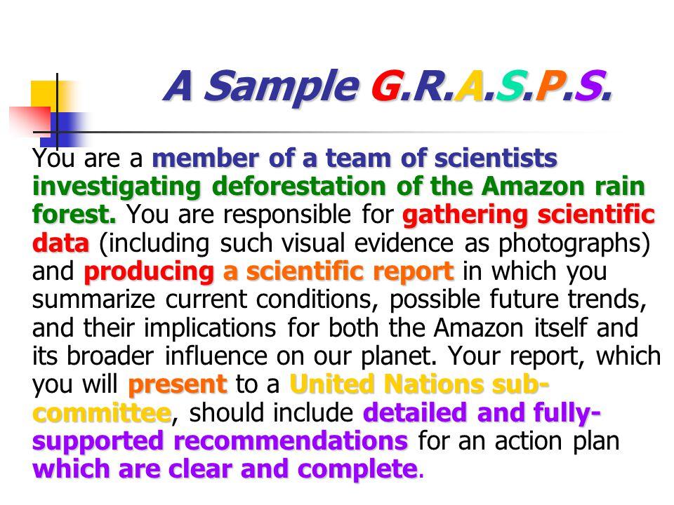 A Sample G.R.A.S.P.S.