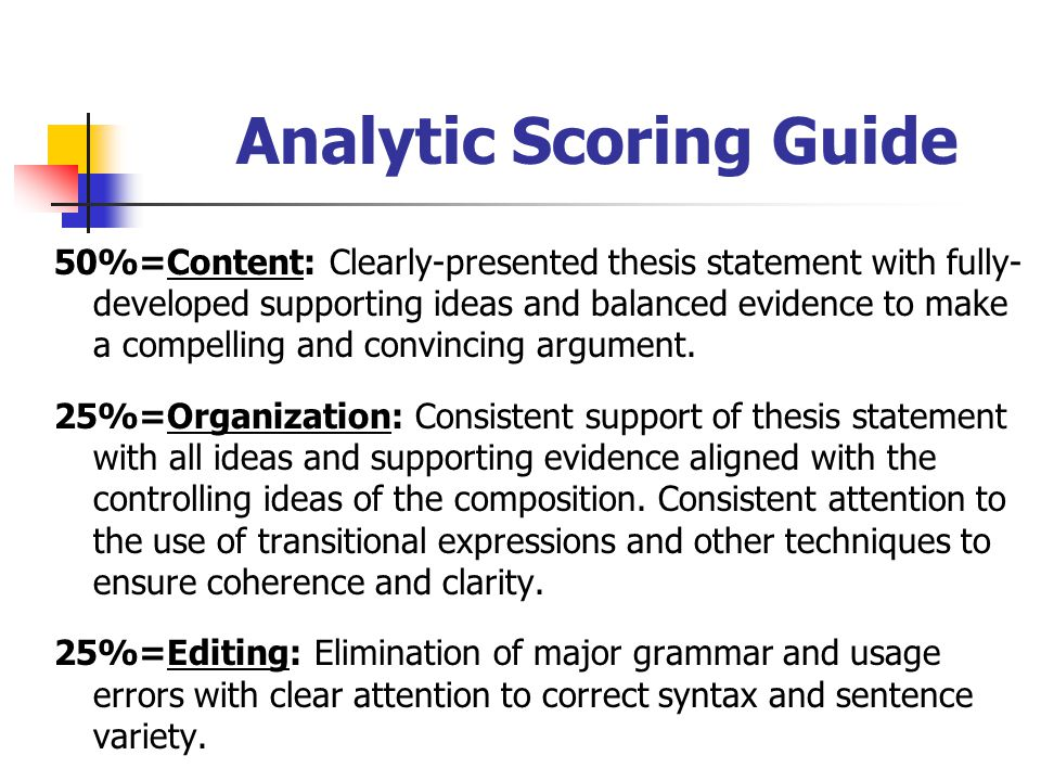 Analytic Scoring Guide
