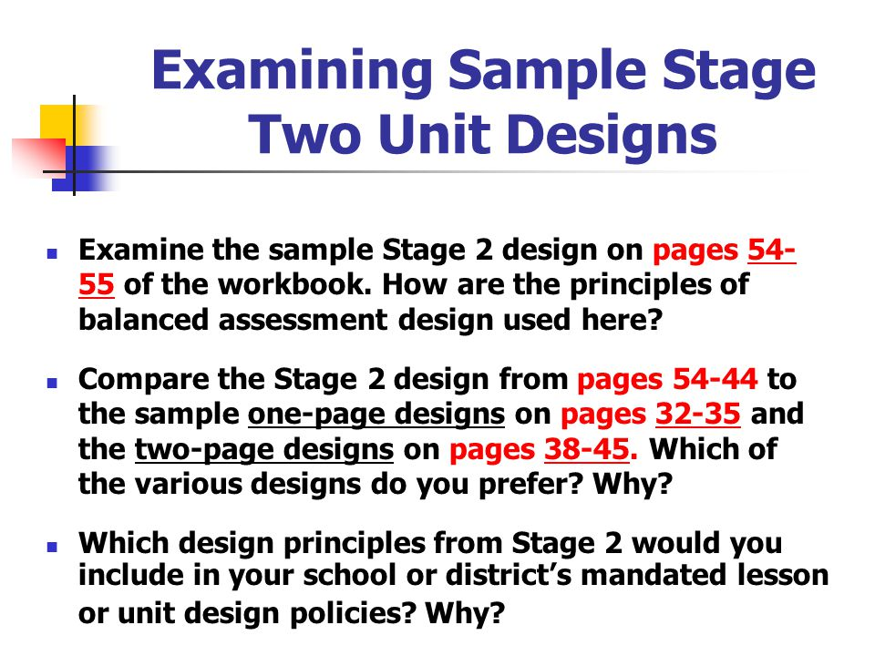 Examining Sample Stage Two Unit Designs