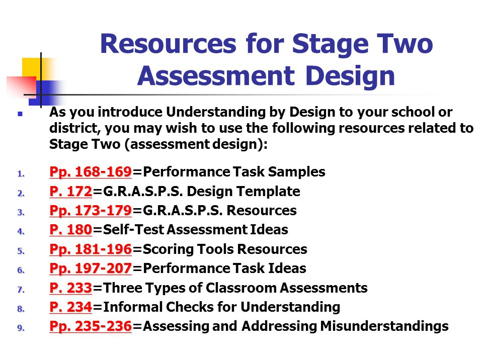 Resources for Stage Two Assessment Design