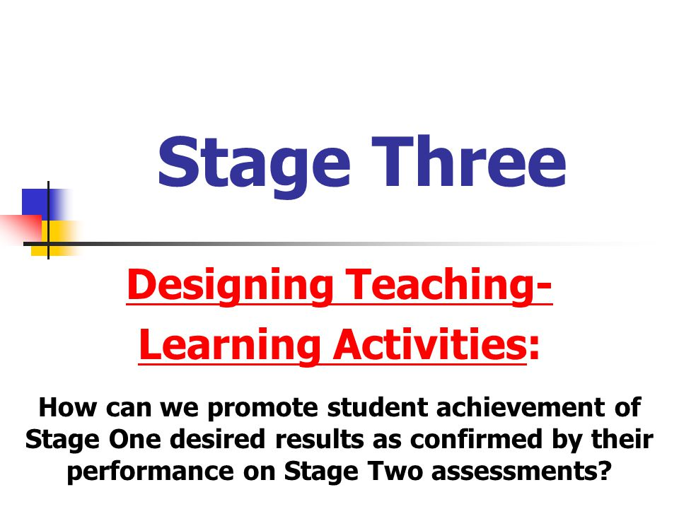 Stage Three Designing Teaching- Learning Activities: