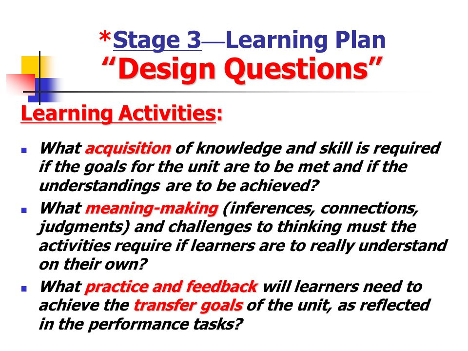 *Stage 3—Learning Plan Design Questions