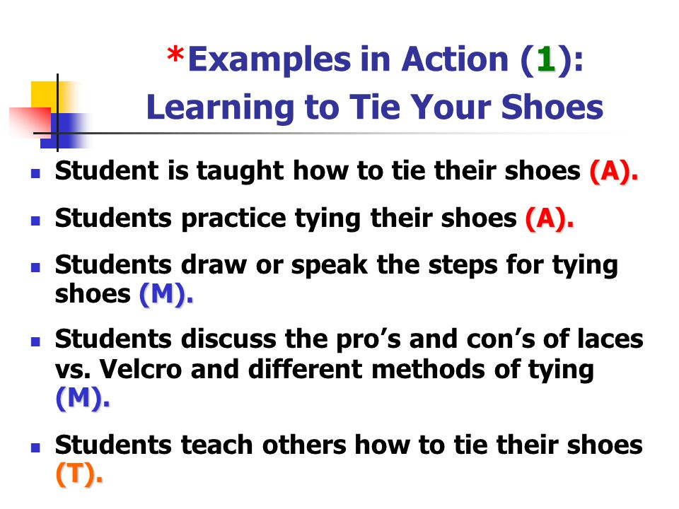 *Examples in Action (1): Learning to Tie Your Shoes