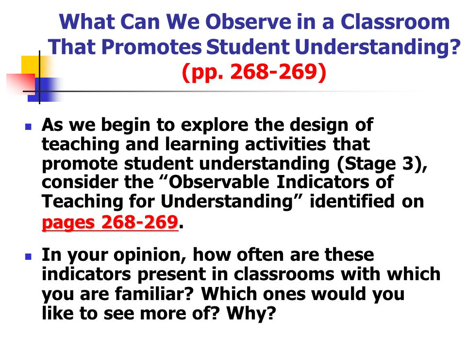 What Can We Observe in a Classroom That Promotes Student Understanding