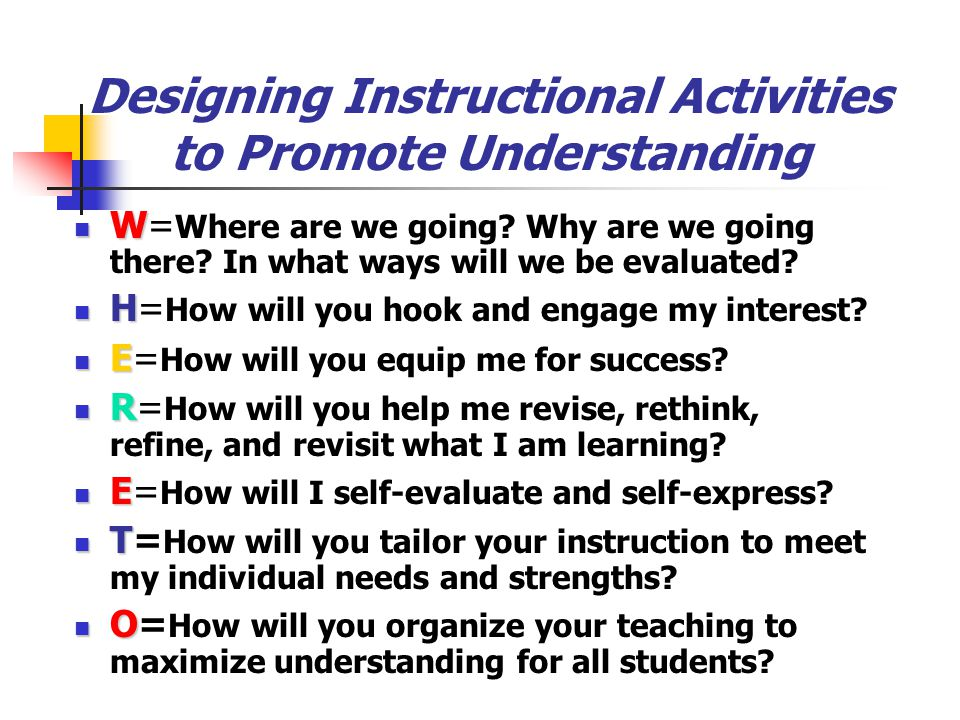 Designing Instructional Activities to Promote Understanding