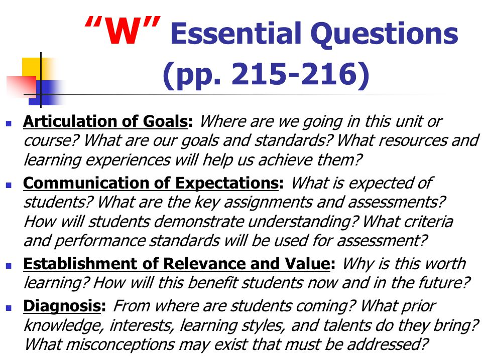 W Essential Questions (pp. 215-216)