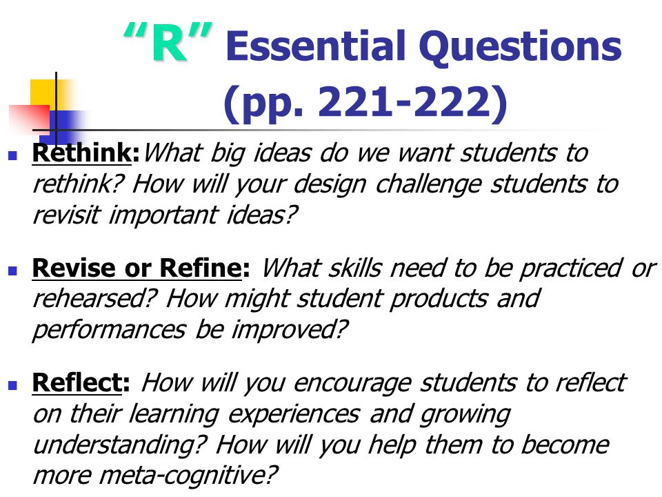 R Essential Questions (pp. 221-222)