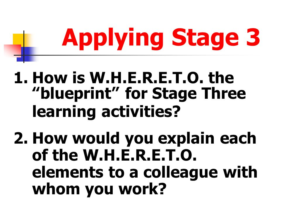 Applying Stage 3 1. How is W.H.E.R.E.T.O. the blueprint for Stage Three learning activities