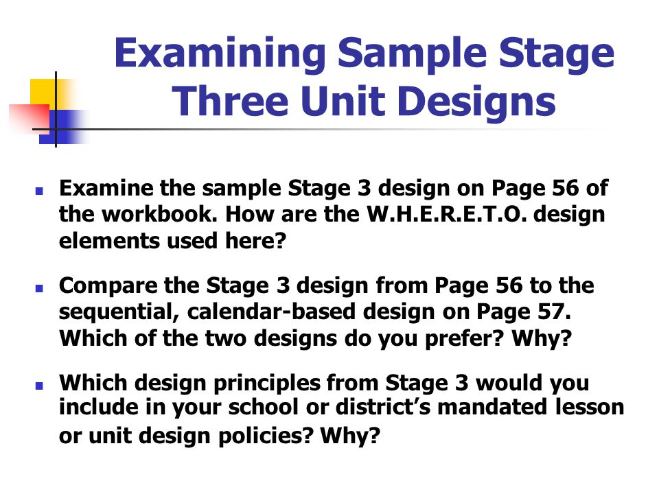 Examining Sample Stage Three Unit Designs