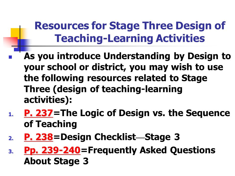 Resources for Stage Three Design of Teaching-Learning Activities