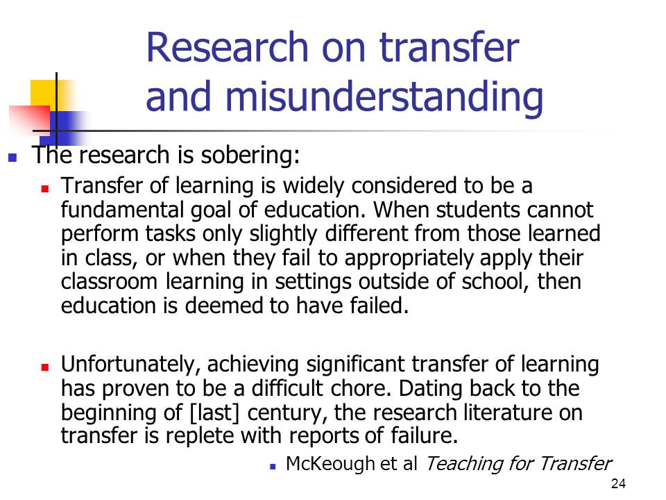 Research on transfer and misunderstanding