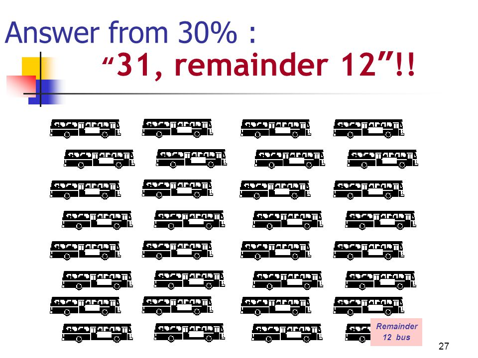 Answer from 30% : 31, remainder 12 !! Remainder 12 bus Donnell 27