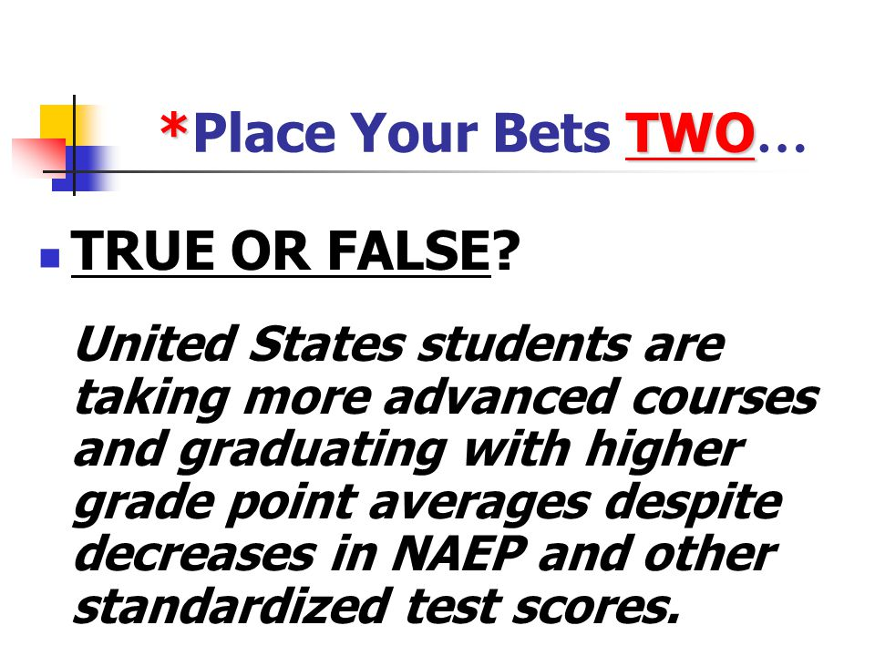 *Place Your Bets TWO… TRUE OR FALSE
