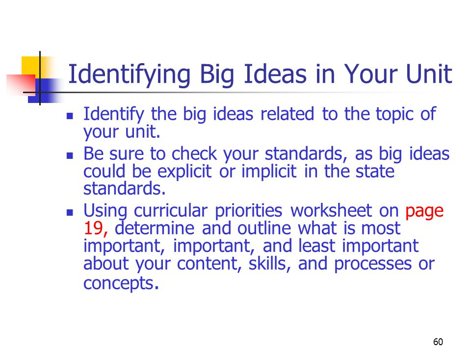 Identifying Big Ideas in Your Unit
